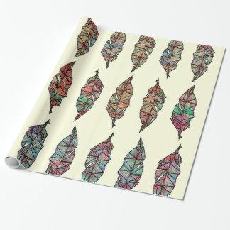 Plumes géométriques peintes par aquarelle colorée papier cadeau