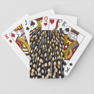 Plumes repérées de coq de jungle jeu de cartes