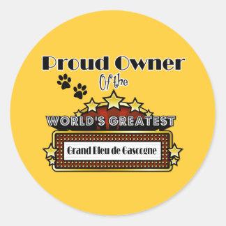 Plus grand Grand Bleu de Gascogn du monde fier de Sticker Rond