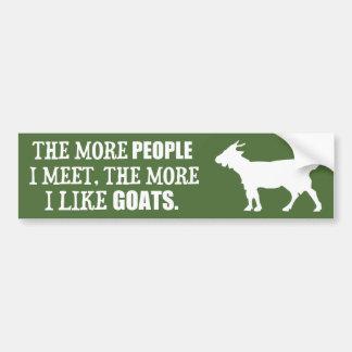 Plus j'aime des chèvres autocollant de voiture