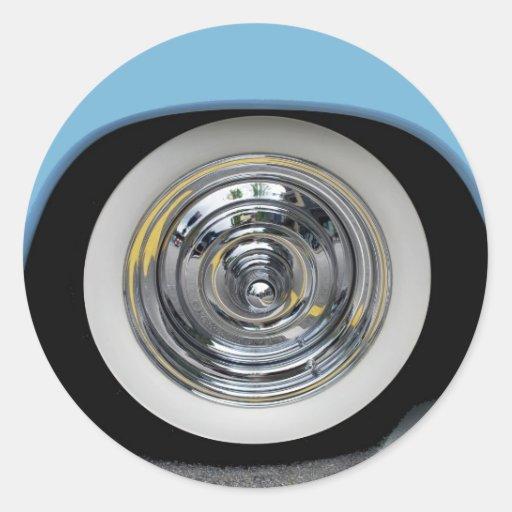 pneu flanc blanc classique de voiture adh sif rond zazzle. Black Bedroom Furniture Sets. Home Design Ideas
