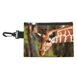 Pochette Avec Clip Brown mignon et portrait blanc de visage de girafe