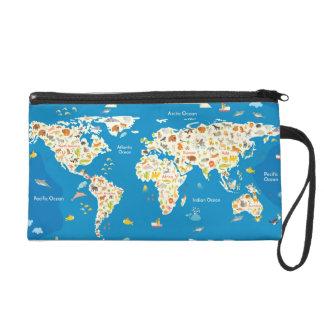 Pochette Avec Dragonne Badine la carte du monde avec des animaux