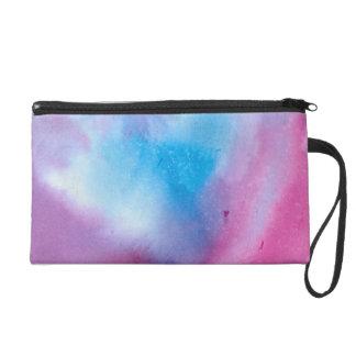 Pochette Avec Dragonne Couleur pour aquarelle de marbre rose et bleue