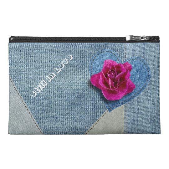 Pochette De Voyage Bouton de rose sur patchwork en Jeans