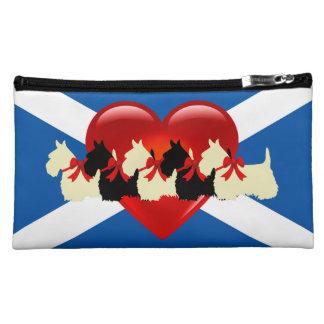 Pochette Simili Daim Écossais Terrier, coeur rouge, drapeau de Saint