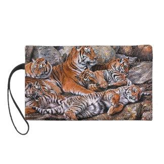 Pochettes Avec Dragonne Art de petit-tigre de famille-tigre de