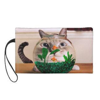 Pochettes Avec Dragonne Chat et poissons - chat - chats drôles - chat fou