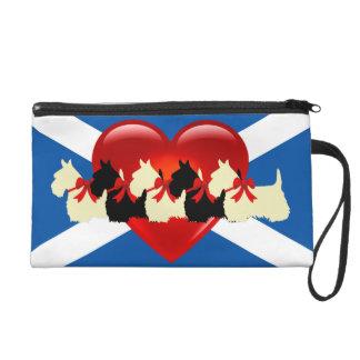 Pochettes Avec Dragonne Écossais Terrier, coeur rouge, drapeau de Saint