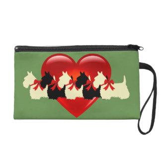Pochettes Avec Dragonne Écossais vert rouge noir/blanc de Terrier de