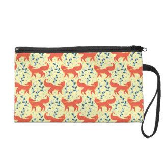 Pochettes Avec Dragonne Fox dans le motif sans couture de vecteur de forêt