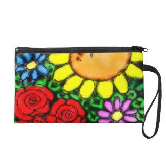 Pochettes Avec Dragonne Jardin vif d'aquarelle de tournesol et de roses