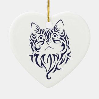 Pochoir avant de visage de chaton de chat de ornement cœur en céramique