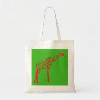 Pochoir rouge de girafe sacs fourre-tout