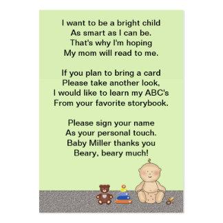 Poème de livre de doigt de voiture d'enfant carte de visite grand format