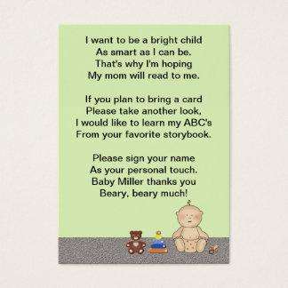 Poème de livre de doigt de voiture d'enfant cartes de visite
