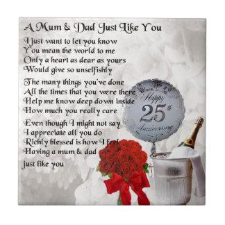 Poème de maman et de papa - 25ème anniversaire de petit carreau carré