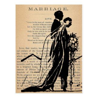 Poème de mariage par la silhouette de marié de jeu carte postale