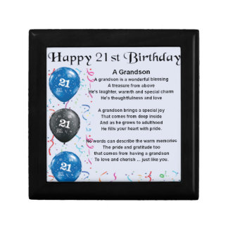 Poème de petit-fils - 21ème anniversaire petite boîte à bijoux carrée