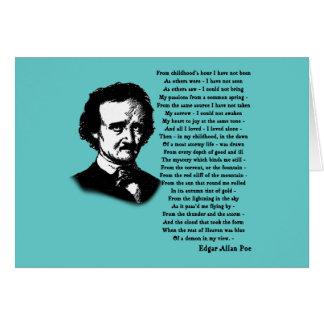 Poème d'Edgar Allan Poe SEUL Carte De Vœux