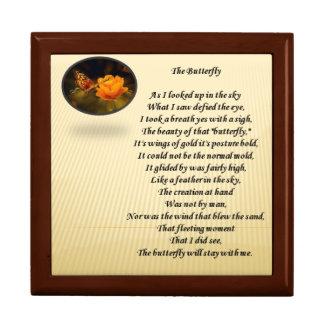 Poème et image de papillon sur le couvercle de boîte à souvenirs