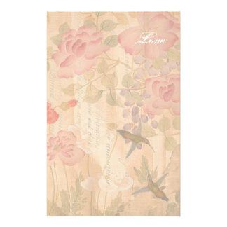 Poème floral de fleurs de roses de glycines de motifs pour papier à lettre