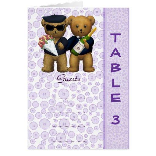 Poème lilas d'ours de nounours de mariage de nombr carte