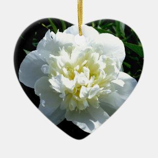 poeny blanc ornement cœur en céramique