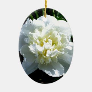 poeny blanc ornement ovale en céramique