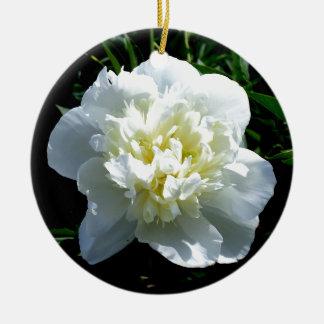 poeny blanc ornement rond en céramique