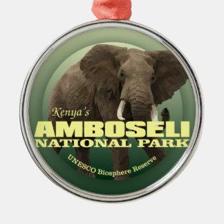POIDS d'Amboseli NP (éléphant africain) Ornement Rond Argenté
