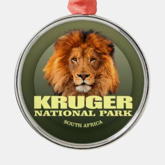 POIDS de Kruger NP (lion) Ornement Rond Argenté