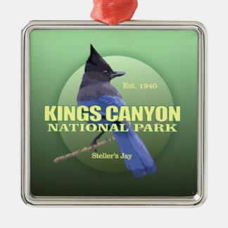 POIDS des Rois Canyon NP (le geai de Steller) Ornement Carré Argenté