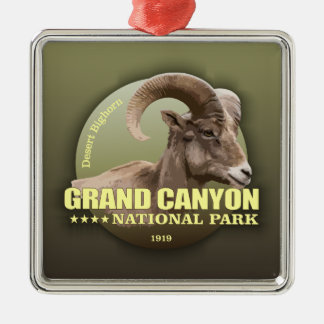 POIDS du NP de canyon grand (Bighorn) Ornement Carré Argenté