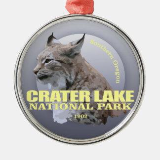 POIDS du NP de lac crater (Lynx) Ornement Rond Argenté
