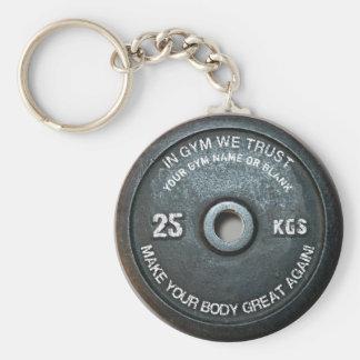 Poids vintage de séance d'entraînement de forme porte-clé rond