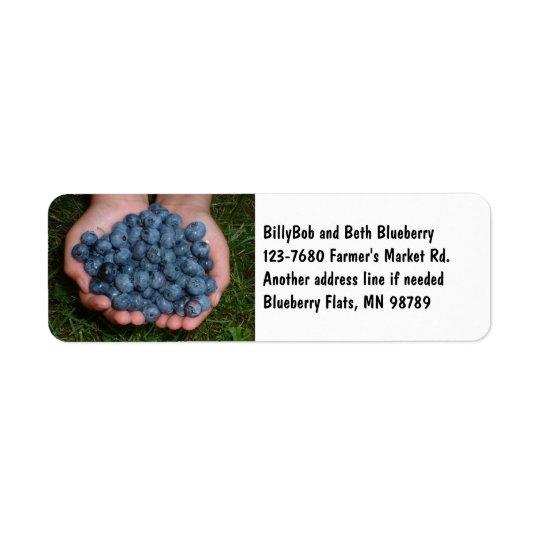Poignée de myrtilles fraîches étiquette d'adresse retour