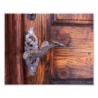 Poignée de porte vintage, immobiliers en bois âgés photo sur toile
