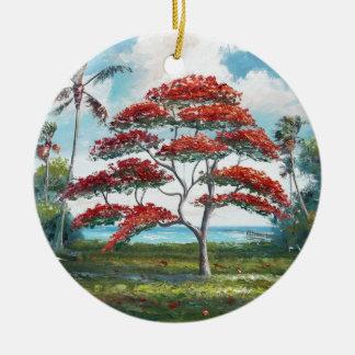 Poinciana royal et palmier ornement rond en céramique