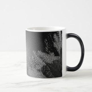 Poinsettia de Noël noire et gris III Mug Magique