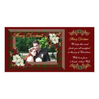 Poinsettias de blanc de carte photo de Noël