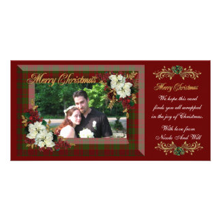 Poinsettias de blanc de carte photo de Noël Cartes Avec Photo