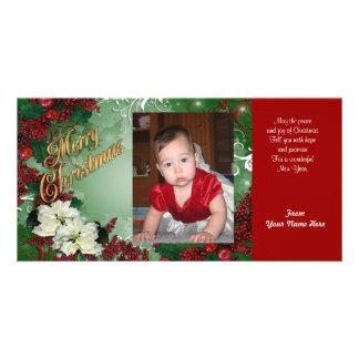 Poinsettias de carte photo de Noël Photocartes Personnalisées