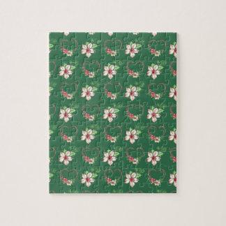Poinsettias et coeurs verts d'aquarelle puzzle