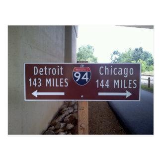 Point à mi-chemin, Detroit Chicago Carte Postale