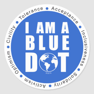 Point bleu global sticker rond