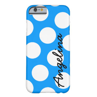 Point de polka bleu et blanc personnalisé coque iPhone 6 barely there