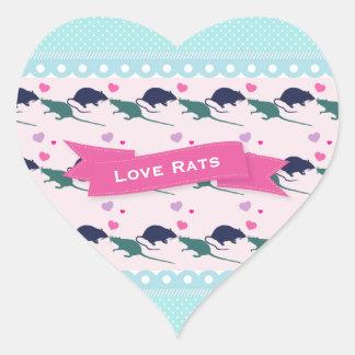 Point de polka de rats d'amour sticker cœur