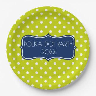 Point de polka lumineux de vert et de blanc de assiettes en papier