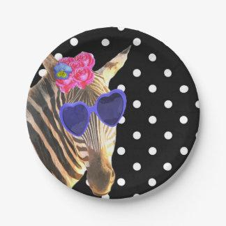 Point de polka noir animal de jungle de zèbre assiettes en papier